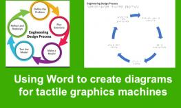 """Print and tactile graphic machine file of Engineering Design Process Cycle Chart & text, """"Using Word to create diagrams."""""""
