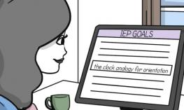 Whiteboard drawing of cartoon O&M looking at the ObjectiveEd IEP clock analogy goal on her home computer.