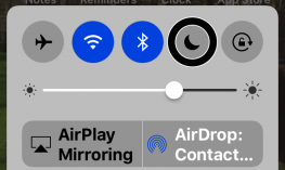 Screenshot of the Control Center with Do Not Disturb button