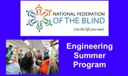 "NFB Logo and photo of students working on a STEM structure; text, ""Engineering Summer Program"""
