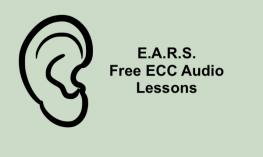 "Image of ear silhouette and text, ""E.A.R.S. Free ECC Audio Lessons"""