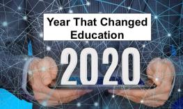 """Text: """"Year that Changed Education: 2020"""" image of hands holding a tablet with background data points linked by lines"""