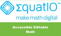"EquatIO logo and text, ""Accessible Editable math"""