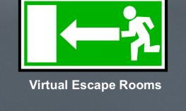 """Outline of cartoon person running to the door and text, """"Virtual Escape Rooms"""""""