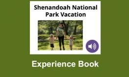 """Cover of the Shenandoah National Park Vacation book (mom holding hands with her two preschoolers) and text, """"Experience Book"""""""