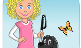 App logo: Young girl with blond curls holding a cane beside her black dog.