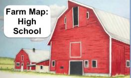 "Image of 3 story red barn and text, ""Farm Maps: High School"""