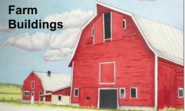 "Image of a 3-story red barn and text, ""Farm Buildings"""