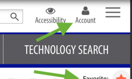 Screenshot of marked Favorites button and Account button on Paths to Technology website.