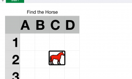 Simple 3x4 table with rows labeled 1-3 and columns labeled A-D; a red horse 'sticker' is in row 2, column C.