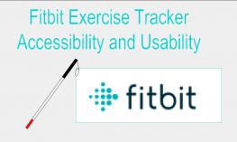 "Image of a long white cane and the Fitbit logo with the caption ""Fitbit Exercise Tracker: Accessibility and Usability"""
