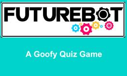 """FutureBot logo with text, """"A Goofy Quiz Game"""""""