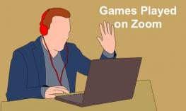 "Image of cartoon man with headphones and hand raised playing a game on the computer and text, ""Games Played on Zoom"""