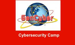 """GenCyber logo with text, """"Cybersecurity camp"""""""