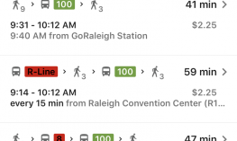 Screenshot of Google Maps on iPhone displaying bus route options with Depart at tab highlighted.