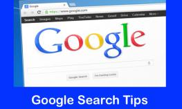 """Image of computer with Google Search screen and text, """"Google Search Tips"""""""