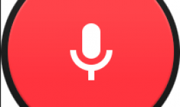 red circle with microphone drawing in the center.