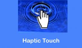 """Cartoon finger touching concentric water circles and text, """"Haptic Touch"""""""