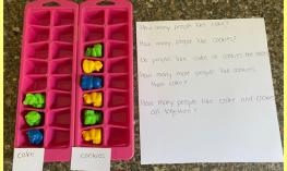 graphing activity using two ice cube trays and counting bears in two columns along with associated questions.