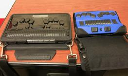 Two braille Devices, BrailleSense Polaris and Actilino.