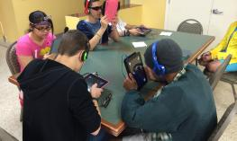 Teens playing blindfold racer