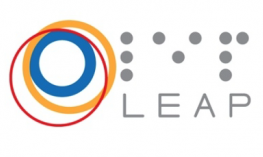 "Logo brightly colored circles with the braille and print text, ""LEAP""."