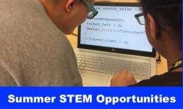 "Photo of two people looking at a code on a zoomed computer screen with text, ""Summer STEM Opportunities"""