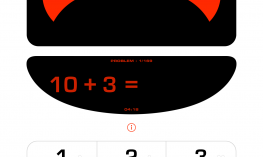 Screenshot of Math Robot displaying the equation 10 + 3 and the answer keyboard below.