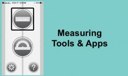 Screenshot of Move to Measure app showing ruler, protractor, settings and help.