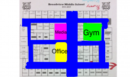 Screenshot of annotated middle school map with tool bars.
