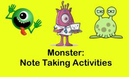 """Three cartoon monster characters with text, """"Monster: Note Taking Activities"""""""