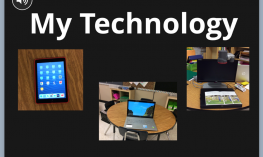 """Image: Cover of an iBook, Titled """"My Technology"""", with images of an iPad, laptop and video magnifier"""