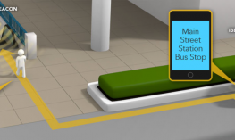 """iBeacos provide audible information: """"Main Street Station Bus Stop"""" and """"Main Street Escalator Entrance"""" as pedestrian travels."""