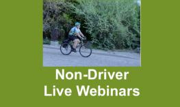 "Photo of Dr. Rosenblum on a bike with text, ""Non-Driver Live Webinars"""