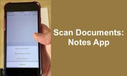 "Image of an iPhone with the Notes App with options to Scan, take photo or library and text, ""Scan Documents: Notes app""."