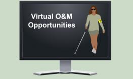 "Computer screen showing cartoon image of woman using a cane and text, ""Virtual O&M Opportunities"""