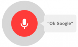 "Microphone on a red circle with the text:  ""Ok, Google"""