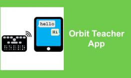 "Orbit Reader beside tablet both showing ""Hello"", ""Hi""; text, Orbit Teacher App"""