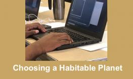 "photo of student's hands on a computer display an Accelerated chart and text, ""Choosing a Habitable Planet"""