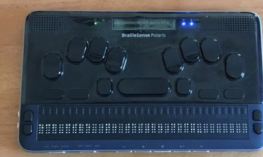 BrailleSense Polaris braille notetaker with a 32 cell refreshable braille display, Perkin's style keyboard & small LCD display.