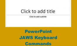 Image of PowerPoint blank slide and text, PowerPoint JAWS keyboard commands""