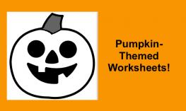 """Image of a carved pumpkin and text, """"Pumpkin-themed Worksheets"""""""