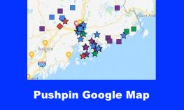 "Google Map with colorful pushpins and text, ""Pushpin Google Map"""