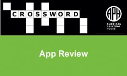 """APH's Crossword puzzle logo and text, """"App Review"""""""