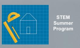 "Image of technical drawing tools and outline of a drawn house and text, ""STEM Summer Program"""