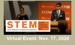 "Image of Ed Summers at a podium beside an interpreter, STEM Career Showcase logo and ""Virtual Event: Nov. 17, 2020"""