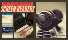 Collage picture of person using computer, headphones Screenreader title and JAWS logo