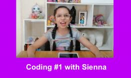 "Photo: smiling 4th grader with long braided pigtails sitting in her room with an iPad and text, "" Coding #1 with Sienna"""