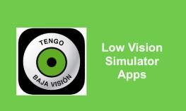 "Tengo Baja Vision app logo and text: ""Low Vision Simulator Apps"""