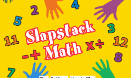 Slapstack Math screenshot of brightly colored Home Page with hands, numbers and math symbols.